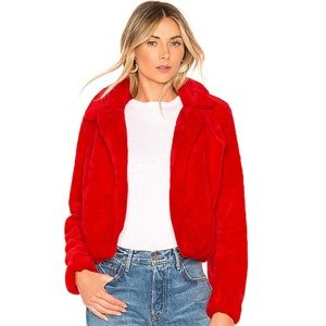 NWT  BLANKNYC Siren Red Faux Fur Jacket Large